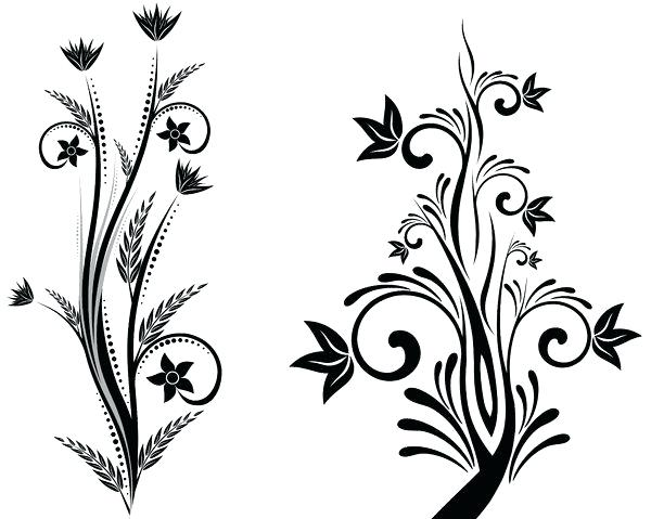 Simple Flower Drawing In Black And White
