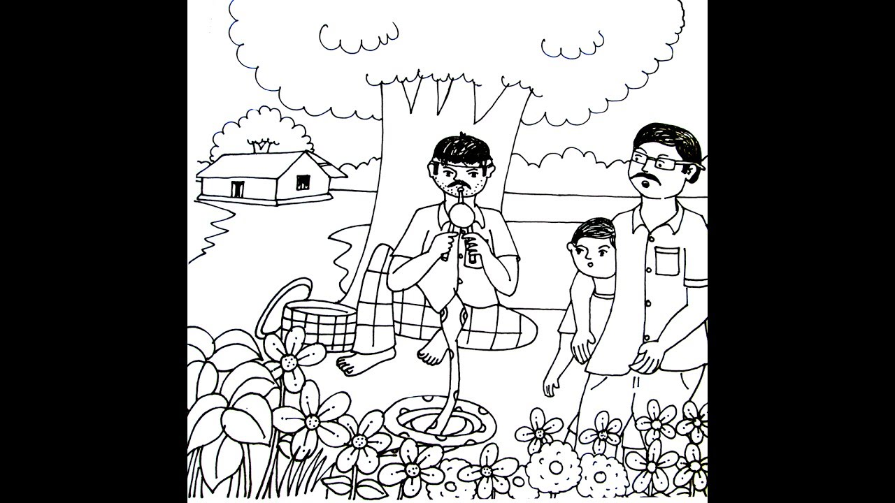 1280x720 Village Scenery Snake Charmers Drawing Tips For Kids Step By