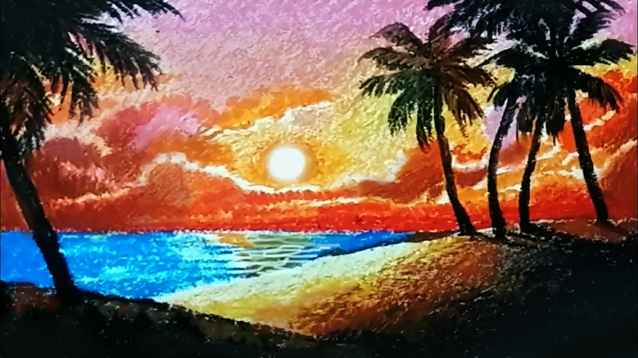 1280x720 How To Draw Scenery With Oil Pastels For Beginners