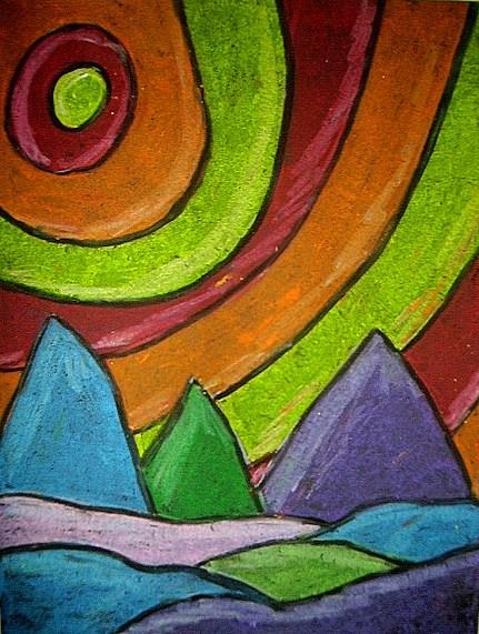 431x571 Landscape In Oil Pastel Kids Amp Glitter