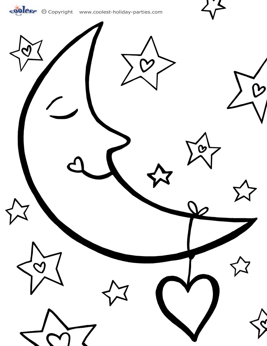 850x1100 Moon And Stars Simple Shapes Easy Coloring Pages For Kindergarten