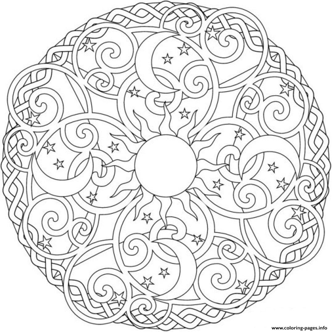 1077x1077 Sun Moon And Stars Mandala S2ada Coloring Pages Printable Simple