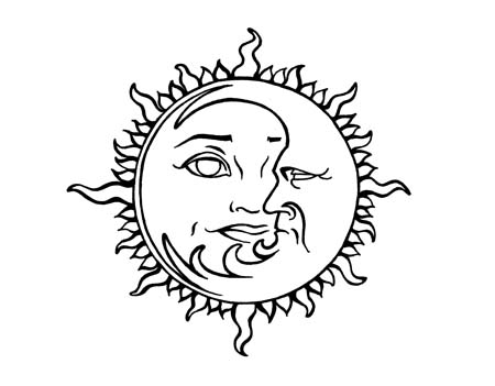 450x351 Collection Of Sun And Moon Drawing Simple High Quality, Free