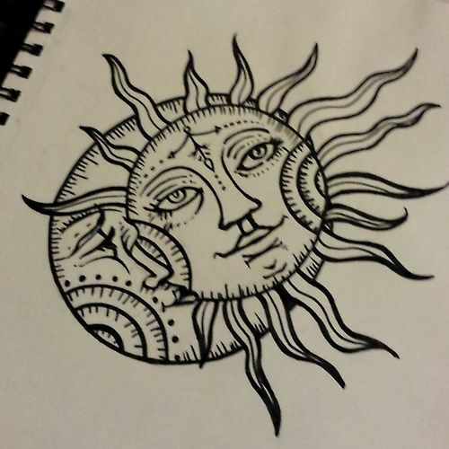 500x500 Collection Of Henna Sun And Moon Drawing High Quality, Free