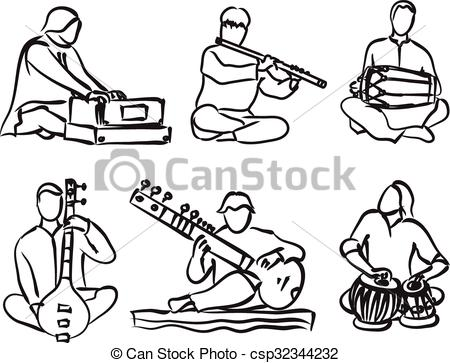 450x363 Indian Musician Set. Indian Musician Playing Traditional