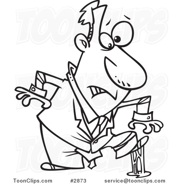 581x600 Cartoon Black And White Line Drawing Of A Business Man In A Sticky