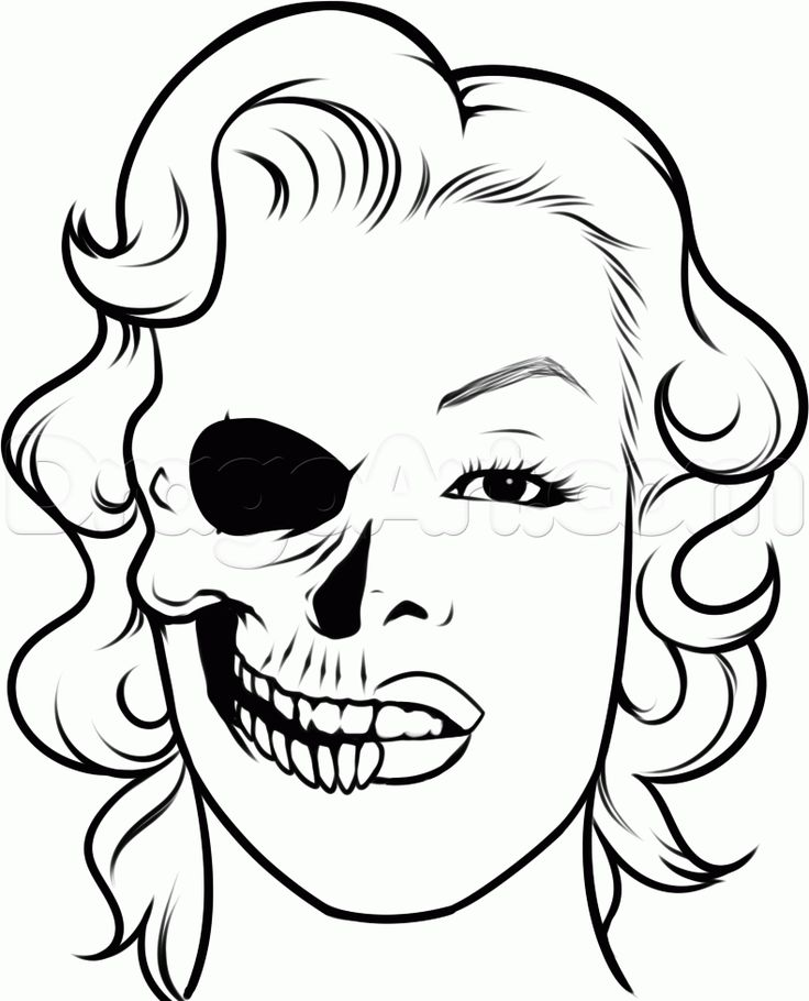 Skeleton Face Drawing Easy