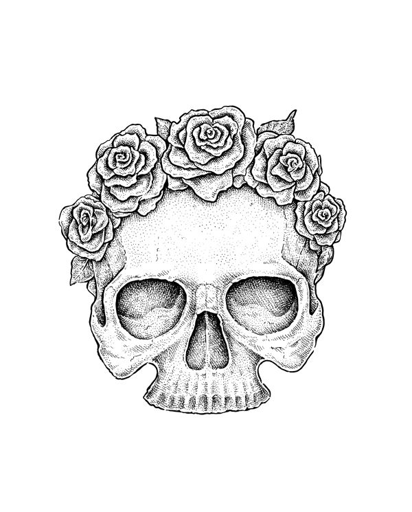 600x745 Use Ink Liners To Create A Skull And Roses Drawing Fall
