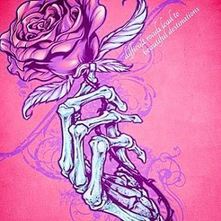 320x320 Silk Screen Design Of A Skeleton Hand Holding A Rose I Designed