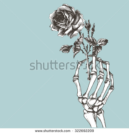 450x470 Skeleton Hand Holding Flower