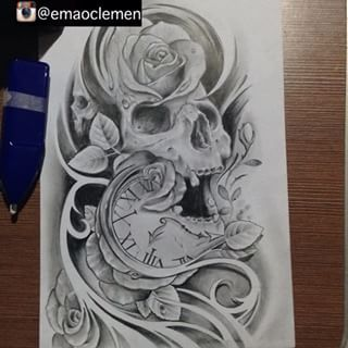 320x320 Collection Of Skull With Clock Drawing High Quality, Free