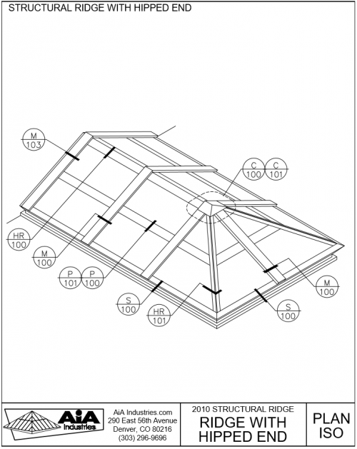 500x629 Hipped Ridge Skylights Detailed Drawings Aia Industries