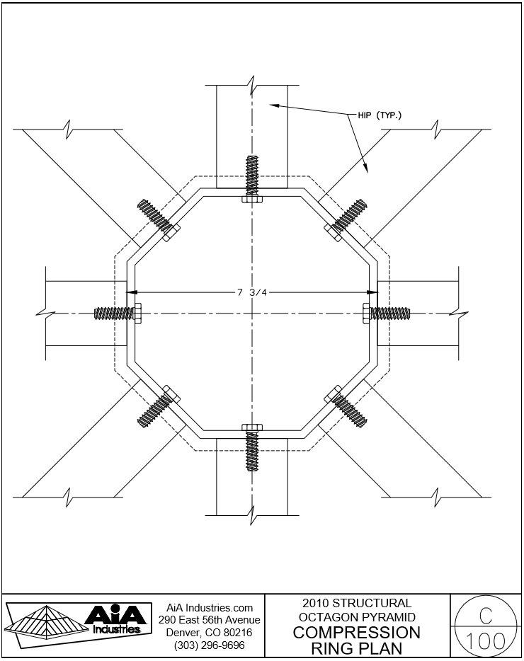 740x934 Octagon Pyramid Skylight Details Detailed Drawings Aia Industries