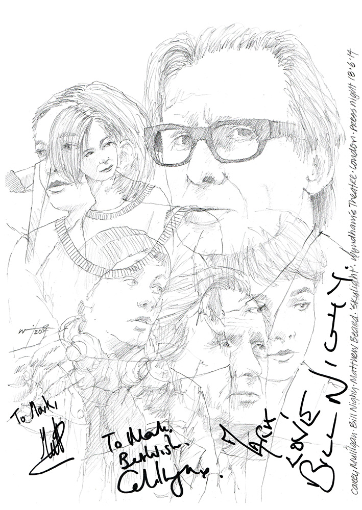709x1000 Drawing Bill Nighy And Carey Mulligan In Skylight