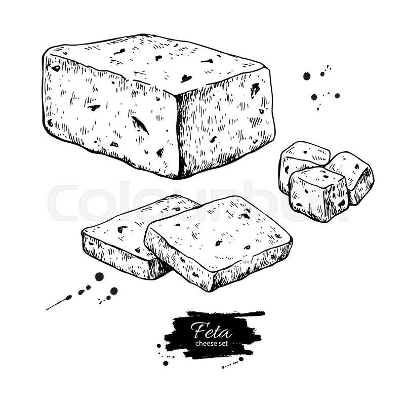 800x800 Greek Feta Cheese Block Drawing. Vector Hand Drawn Food Sketch