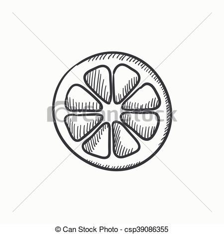 450x470 Slice Of Lemon Sketch Icon. Slice Of Lemon Vector Sketch Icon