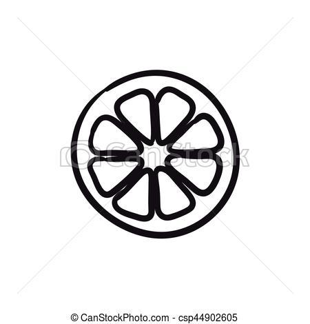 450x470 Slice Of Lemon Sketch Icon. Slice Of Lemon Vector Sketch Vector