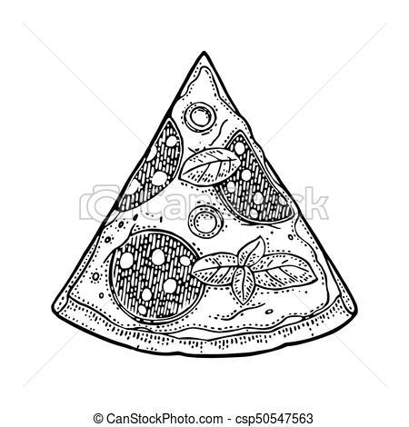 450x470 Slice Pizza Pepperoni. Vintage Vector Engraving Illustration