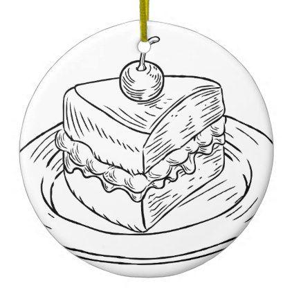 422x422 Cake Slice Vintage Retro Woodcut Style Ceramic Ornament