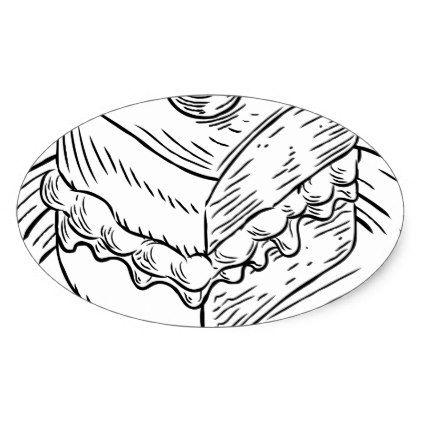 422x422 Cake Slice Vintage Retro Woodcut Style Oval Sticker
