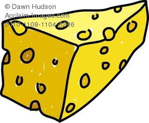 300x249 Clipart Image Of A Whimsical Drawing Of A Slice Of Cheese