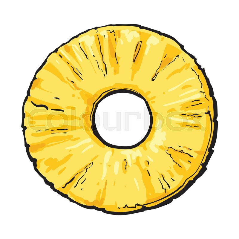 800x800 Peeled Round Pineapple Slice With Hole In The Middle, Top View