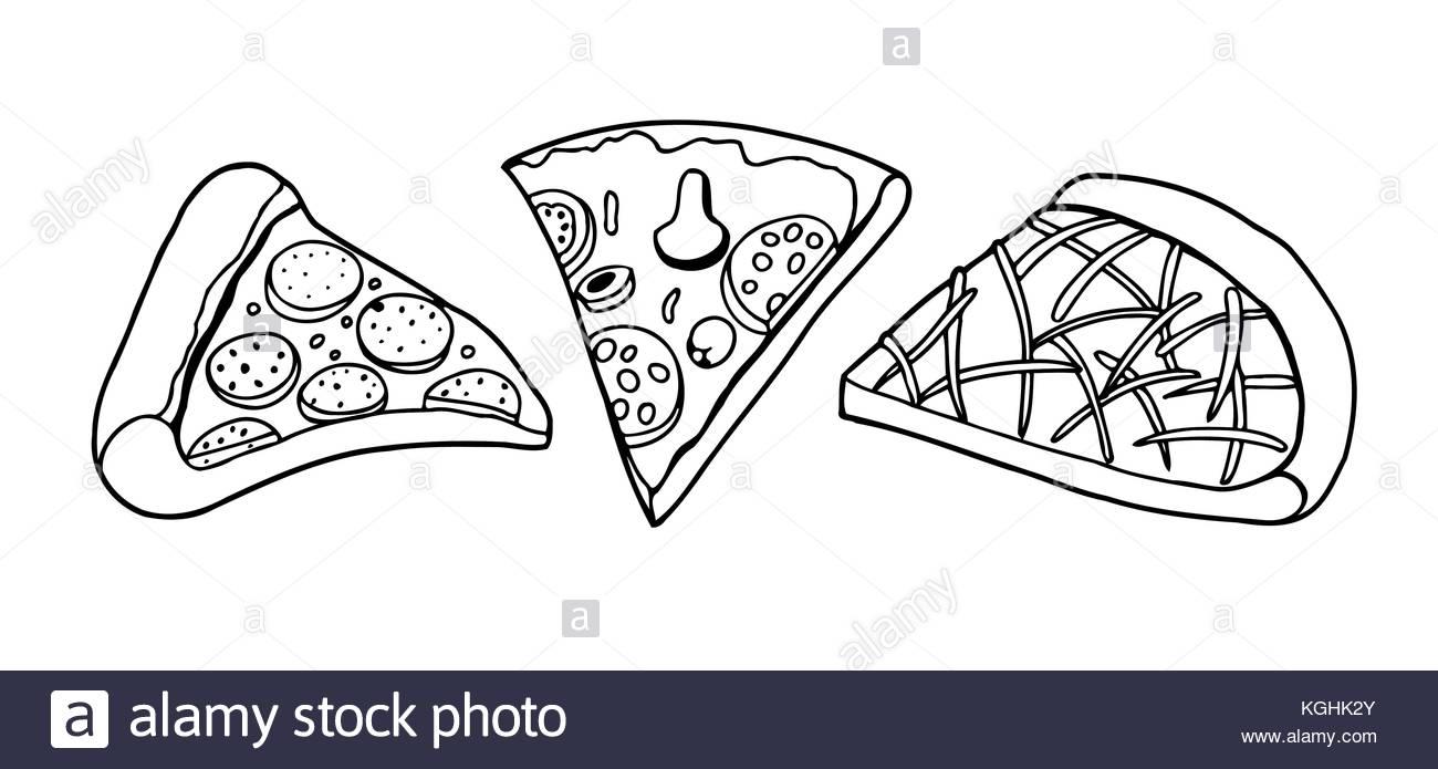 1300x695 Vector Set Pizza Slice Drawing. Hand Drawn Pizza Illustration