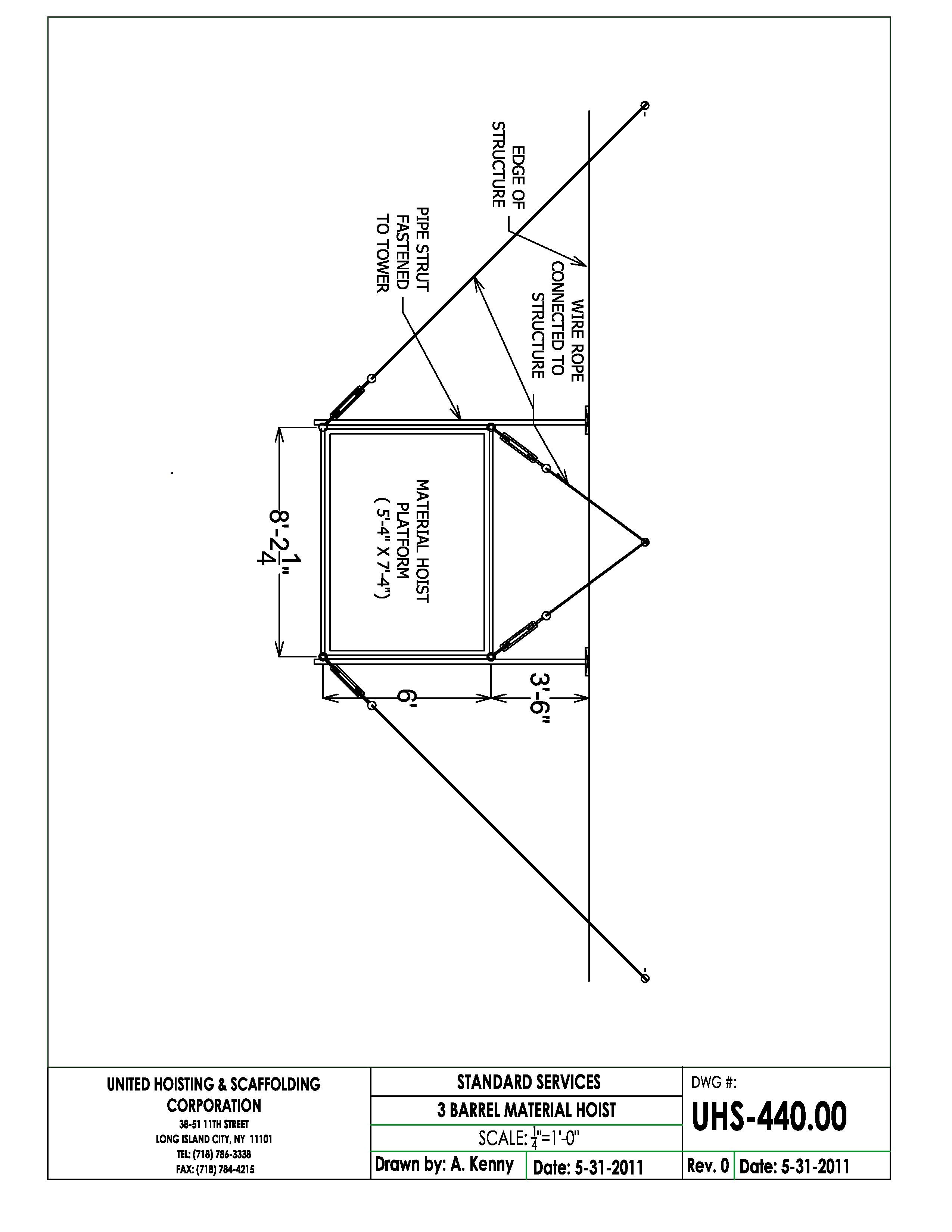 2550x3300 Material Hoist Drawings United Hoisting Amp Scaffolding Corp