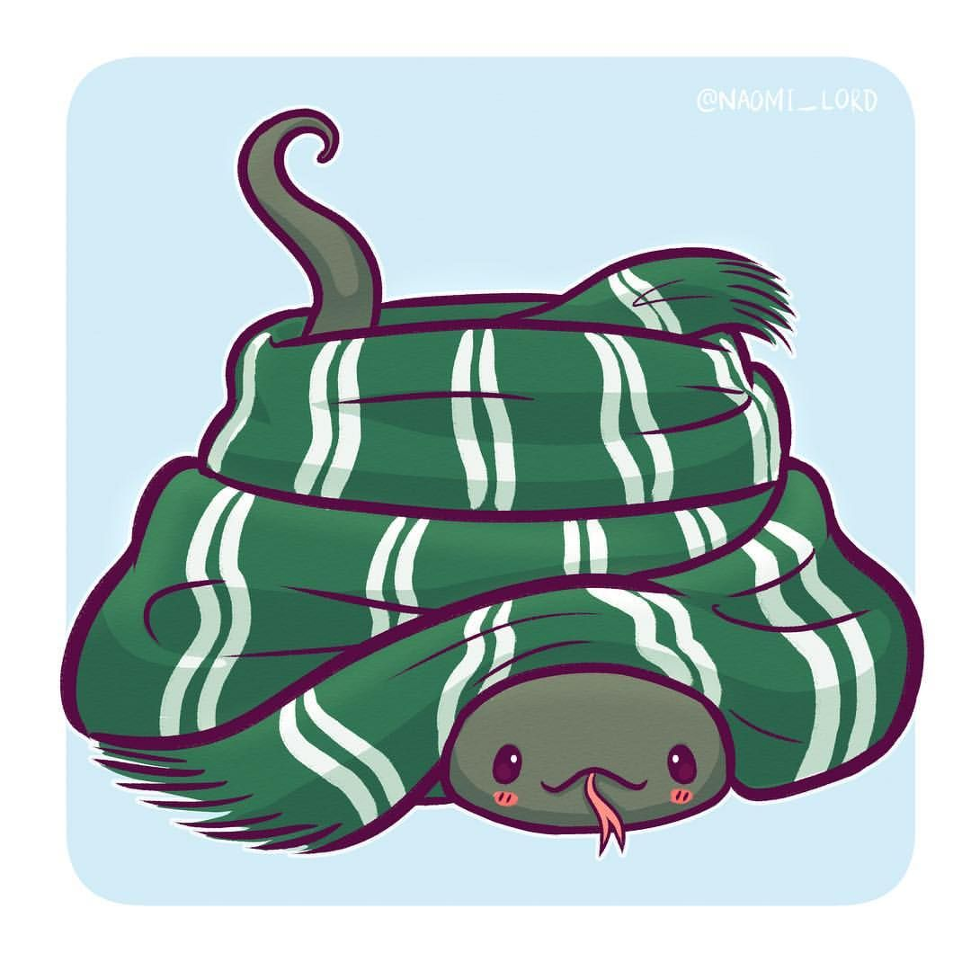 1080x1080 Nagini In A Slytherin Scarf! I'M A Big Fan Of Drawing Cute Danger