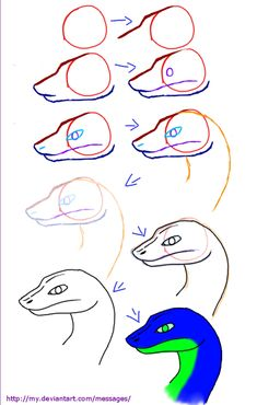 235x370 Step 4. How To Draw A Snake Head, Draw Snake Heads Tutorial