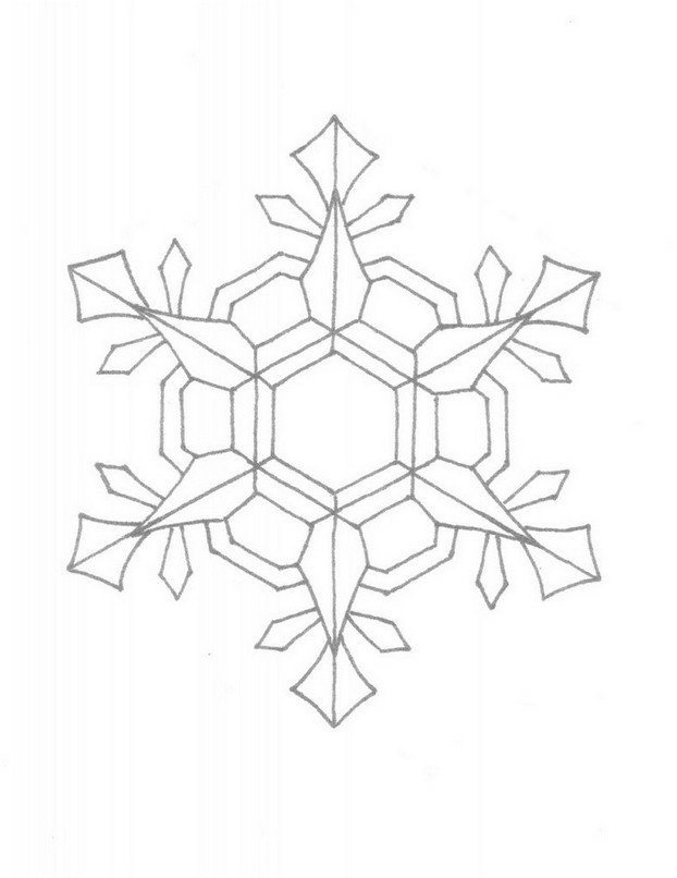 622x806 Coloring Page Snowflake Free Drawing Board Weekly