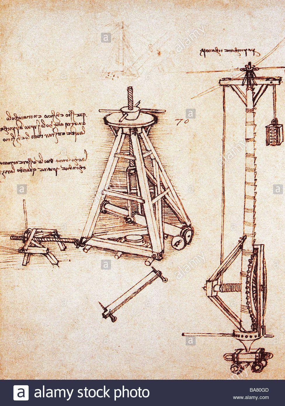 976x1390 Technical Drawing, Lifting Of Column, By Leonardo Da Vinci