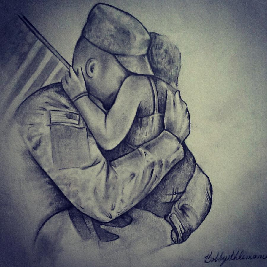 900x900 Daughter Of A Soldier Drawing By Bobby Hileman