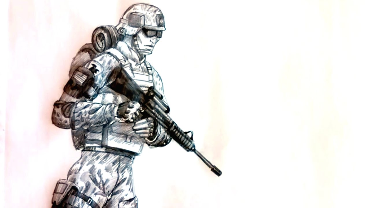 1280x720 How To Draw A Soldier Step By Step