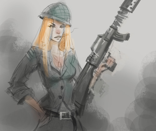 500x420 How To Draw Woman Soldier