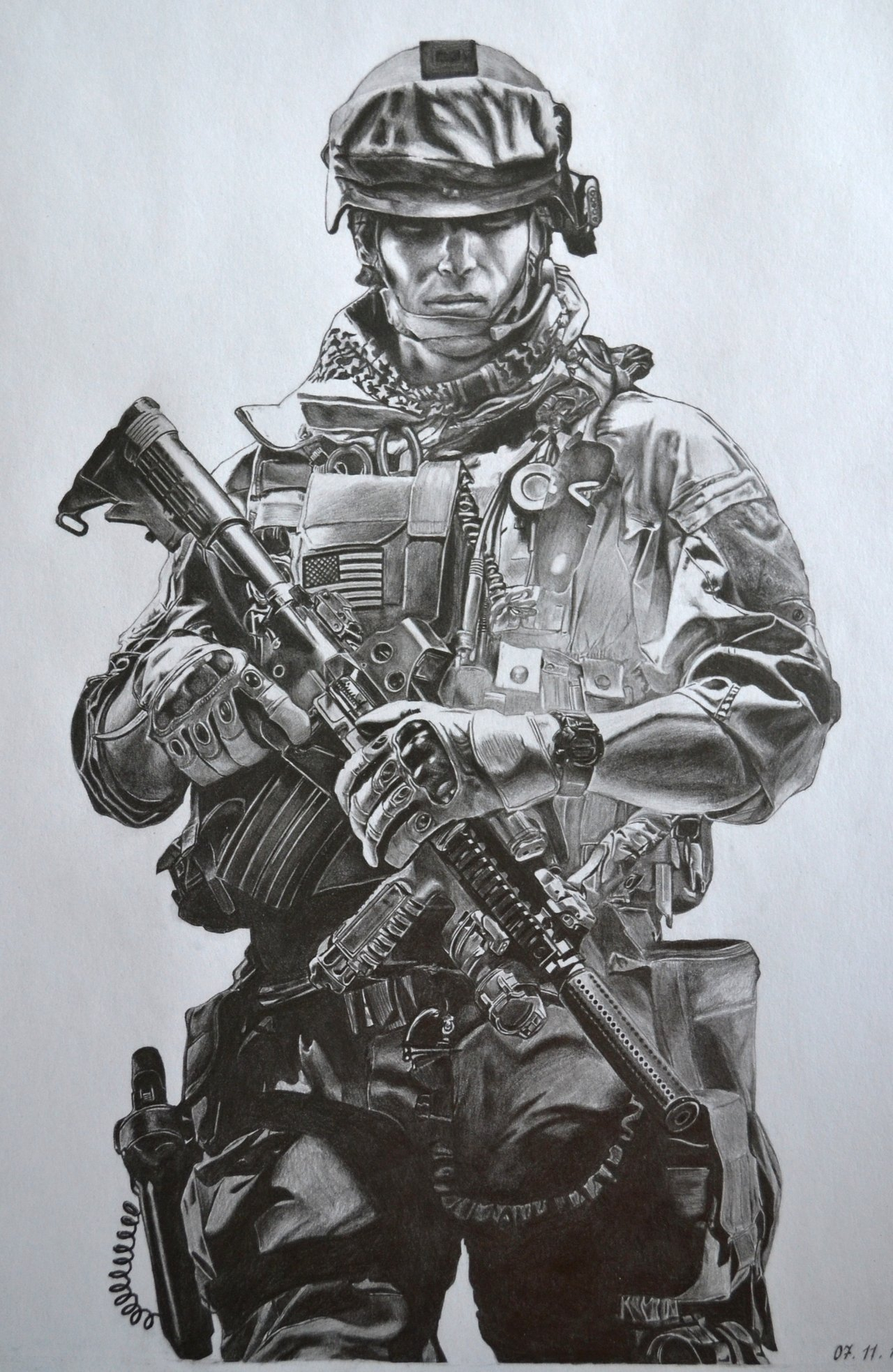 1280x1967 Pencil Drawing Of Soldier Battlefield 3 Pencil Drawing By Al54xx