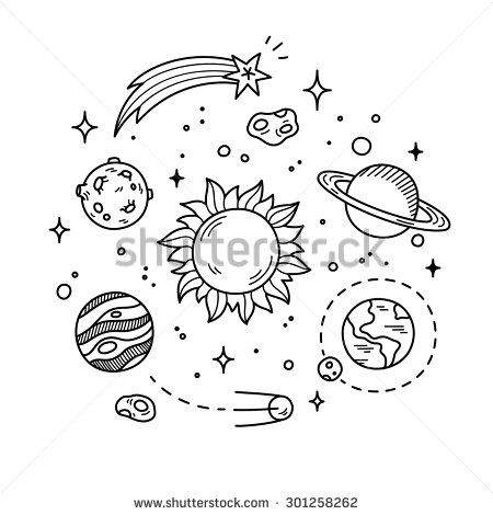 450x470 Hand Drawn Solar System With Sun, Planets, Asteroids And Other