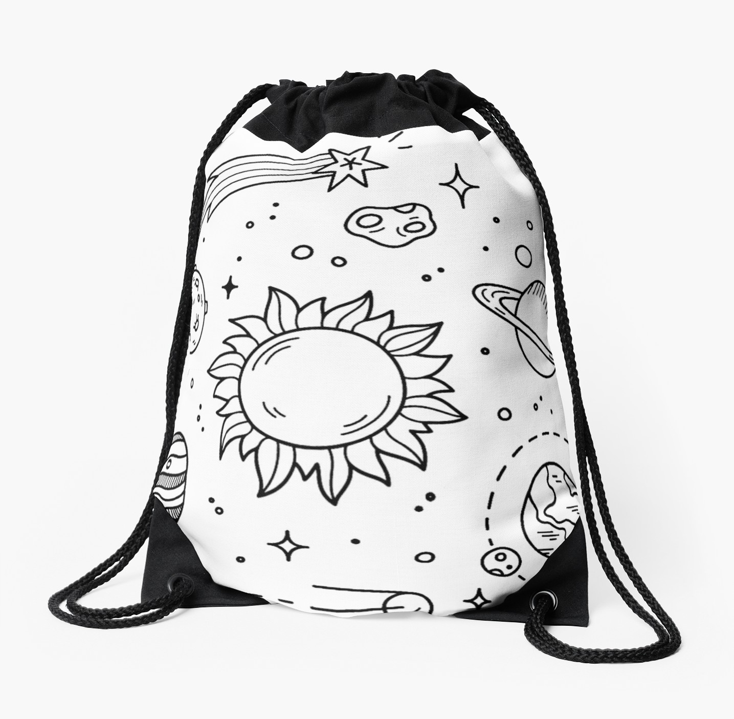1435x1404 Space Tumblr Drawing Drawstring Bags By Glennstevens Redbubble