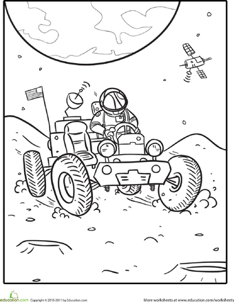 340x440 Lunar Rover Coloring Page Worksheets, Spaces