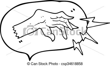 450x270 Freehand Drawn Speech Bubble Cartoon Hand Casting Spell Clipart