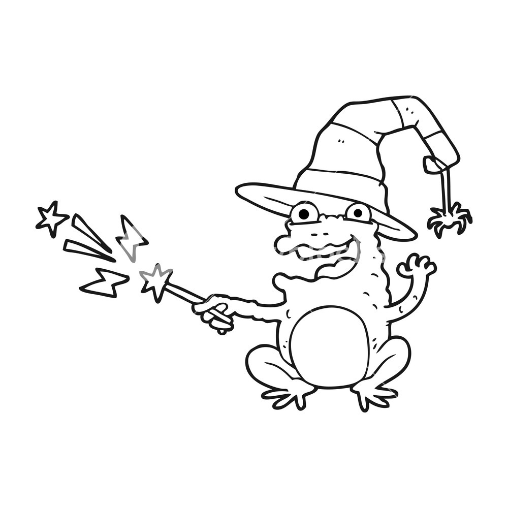 1000x1000 Freehand Drawn Black And White Cartoon Toad Casting Spell Royalty