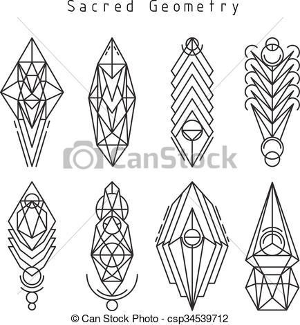 434x470 Vector Linear Sacred Emblems. Vector Linear Sacred Geometry Emblem