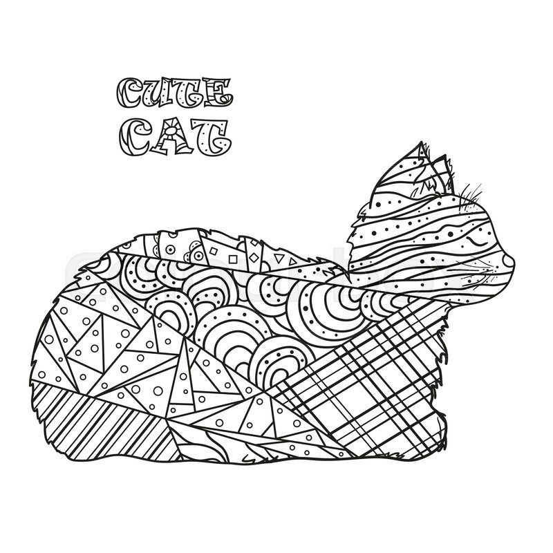 800x800 Cat. Hand Drawn Cat With Abstract Patterns On Isolation Background