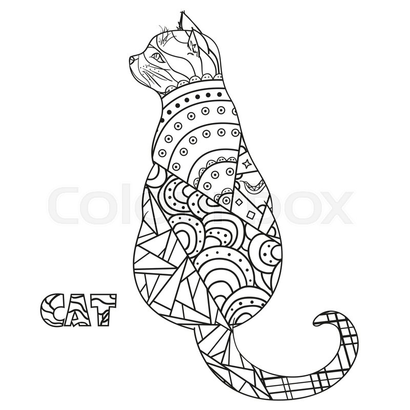 800x800 Cat. Zentangle. Hand Drawn Cat With Abstract Patterns On Isolation