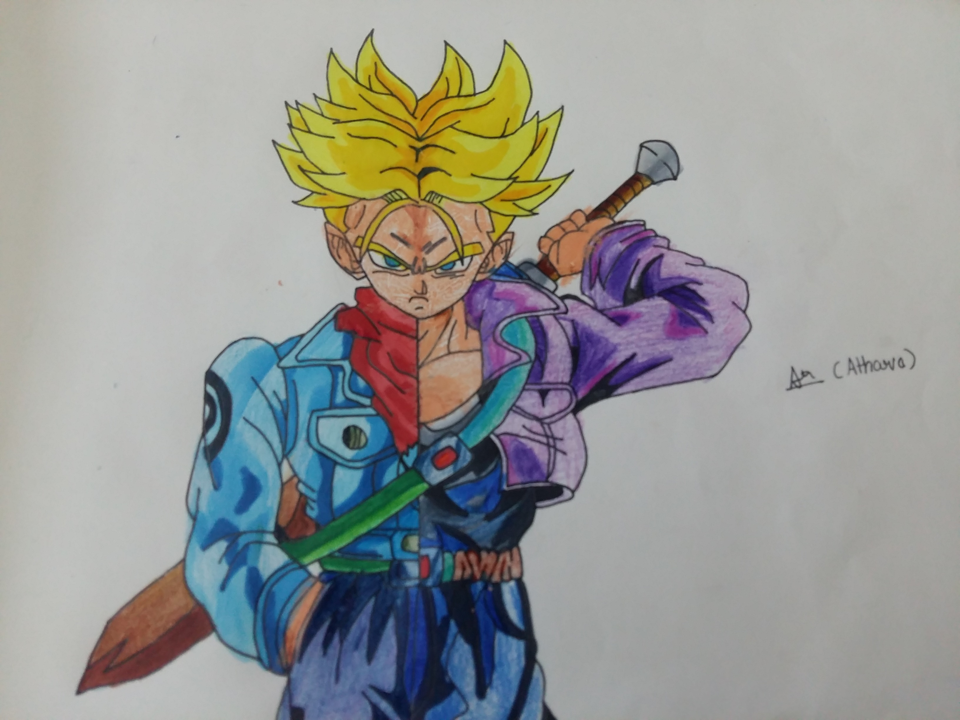 3264x2448 Hi Guys!! Check Out My New Future Trunks Split Drawing
