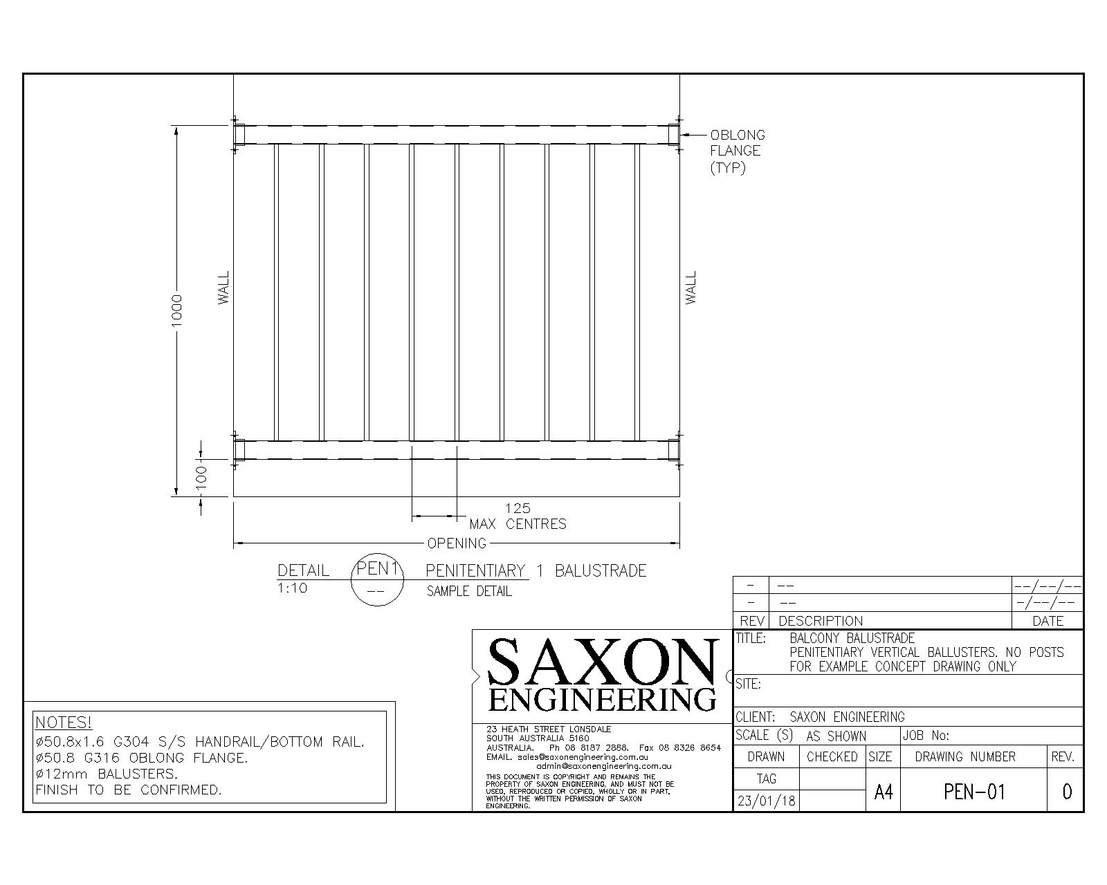 1600x1280 Handrail And Balustrade Drawings Saxon Engineering