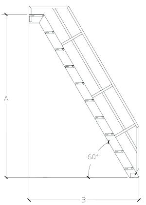 300x421 Standard Stair Angle Technical Drawing Of A Ship Ladder Standard