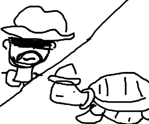 300x250 Cowboy And A Turtle Have A Standoff