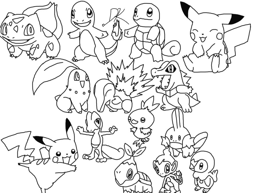 900x675 Collection Of All Starter Pokemon Drawing High Quality, Free