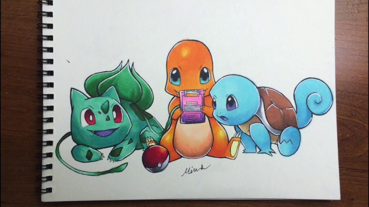 1280x720 Pokemon Gen 1 Starters Drawing